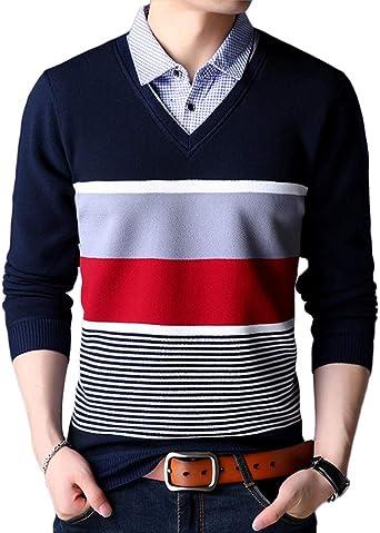 Básico Cálido Pullover para Hombre De Punto con Cuello En V Y Cuello De Camisa Falsa Jersey Suéter Rojo L: Amazon.es: Ropa y accesorios
