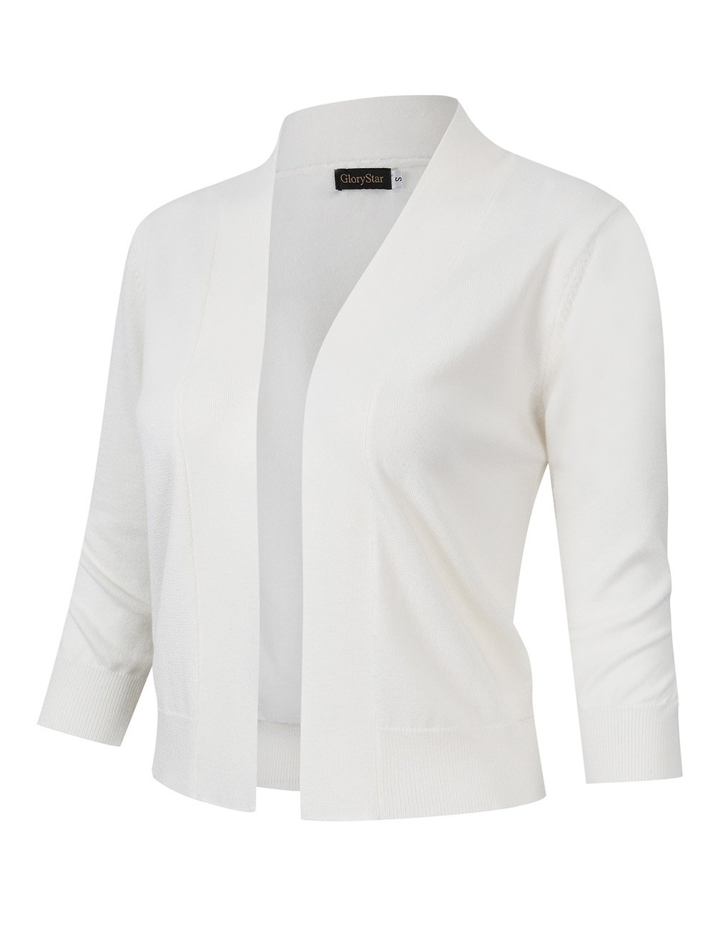 GloryStar Women's 3/4 Sleeve Open Front Lightweight Knit Cropped Cardigan Sweater White M