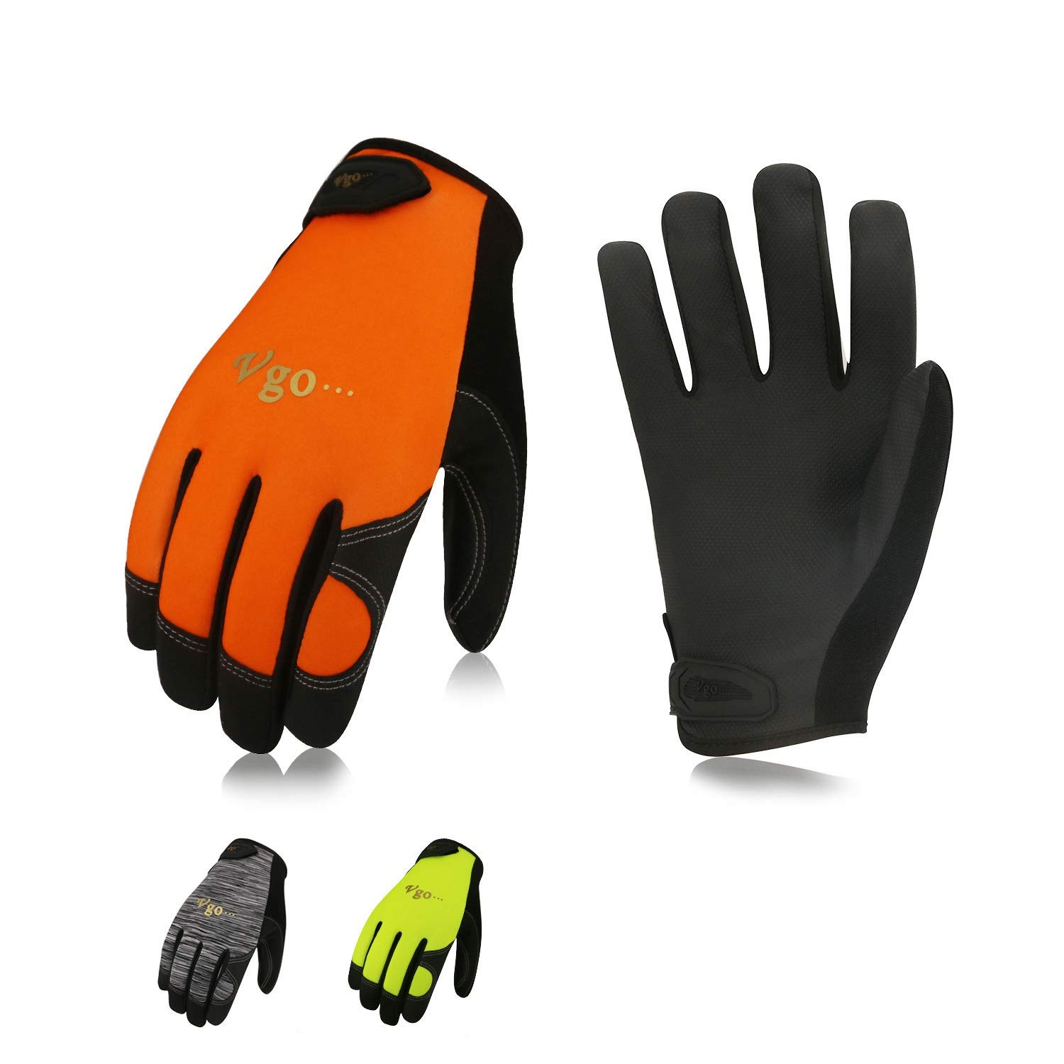 Vgo 3 Pairs High Dexterity Construction Protective Touchscreen Capable Builder Driver PU Leather Work Garden Gloves Multipurpose (Size 9/L, Grey & Orange & Green, PU8718) Laborsing Safety Products Inc.