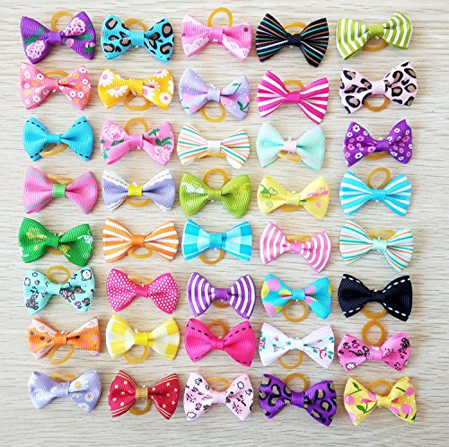 PET SHOW Small Dog Hair Bows Topknot With Rubber Bands Cat Puppy Pets Headdress Grooming Hair Accessories Color Assorted Randomly (100pcs) by PET SHOW (Image #1)