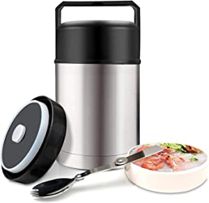Food Jar Wide Mouth for Hot Food,304 Stainless Steel Leak Proof Double Wall Vacuum Insulated Soup Container with Handle Lid,27 oz BPA Free Thermos Lunch Box (Silve)