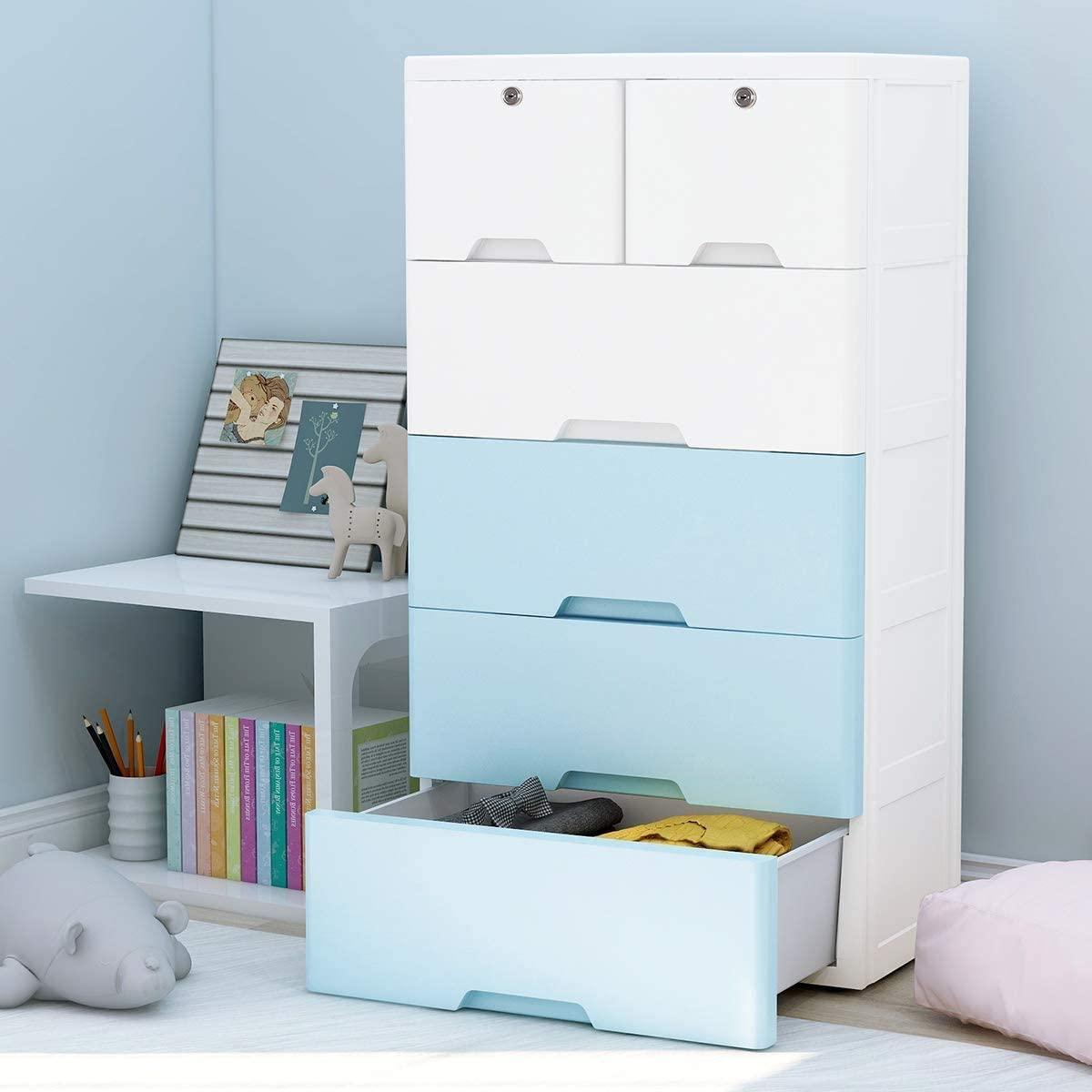 Nafenai 9 Drawer Baby Dresser, Large Lockable Storage Organizer