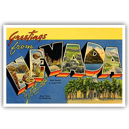 GREETINGS FROM NEVADA vintage reprint postcard set of 20 identical postcards. Large letter US state name post card pack (ca. 1930's-1940's). Made in USA.