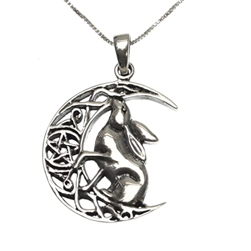 af0757405 Sterling Silver 925 Moon Gazing Hare Pendant Necklace: Amazon.co.uk:  Jewellery