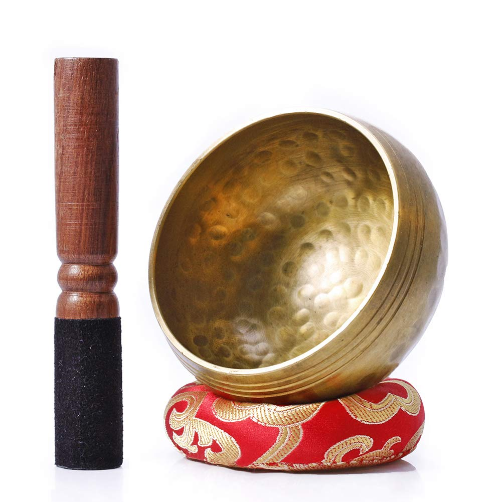 Biggo Tibetan Singing Bowl Set - With Mallet & Silk Cushion- Perfect resonance Meditation Yoga & Chakra Healing Handmade Bowl .Perfect Gift by Biggo