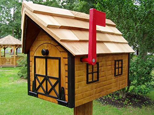 Amish Handmade Handcrafted Rural Mailbox w Flag USPS Log Cabin Black Trim