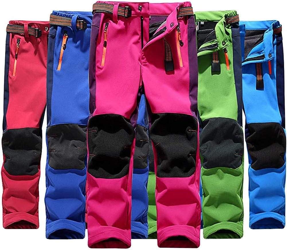 LAPLBEKE Enfant Gar/çon Softshell PantalonCoupe-Vent Sport en Plein air Pantalon Imperm/éable Pantalon de Randonn/ée Trekking descalade Fille doubl/é de Molleton