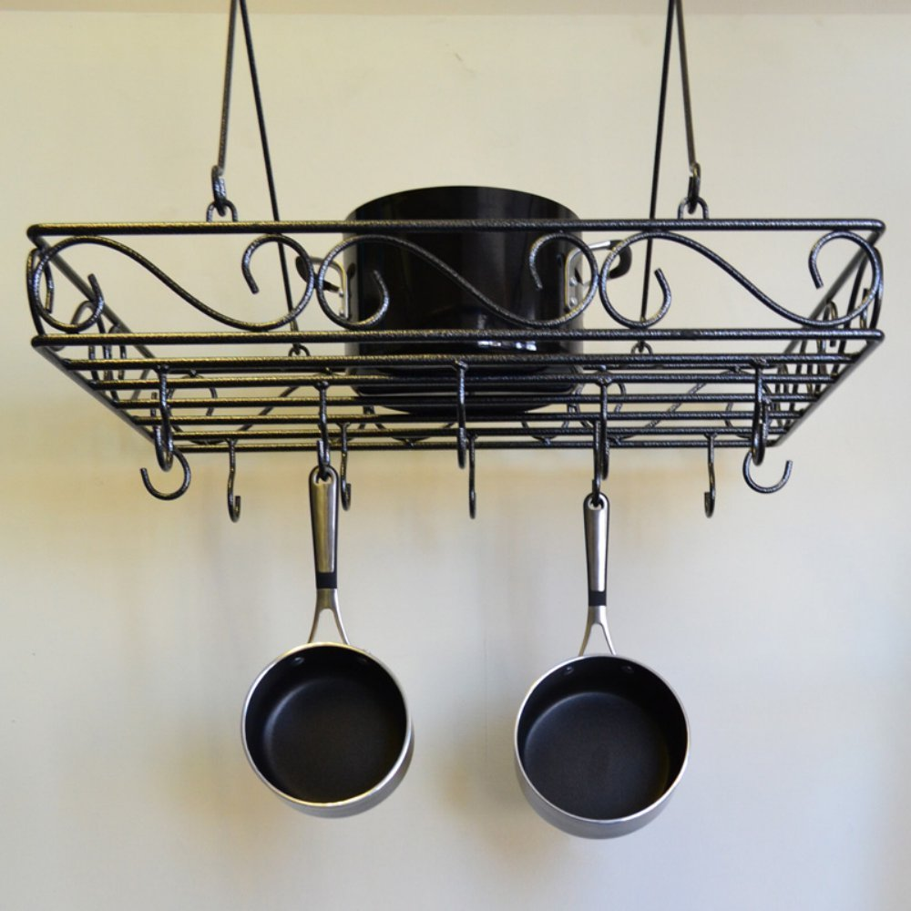 Pots and pans rack designer black scrollwork metal ceiling for Kitchen s hooks for pots and pans