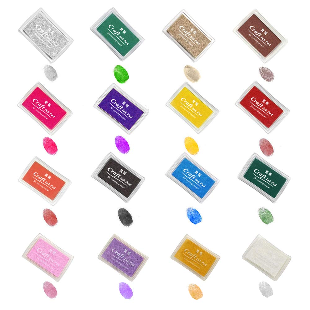 Ink Pads, GYORGKSHI Washable Ink Stamp Pads for Kids, Craft Scrapbooking Stamp Pads for Rubber Stamps, Paper, Fabric (16 Colors)