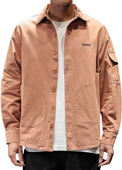 Camisa para Hombre, Estilo Informal, de Manga Larga, con Bolsillos, Camisas, Sudaderas de Estilo Militar Arancio M: Amazon.es: Ropa y accesorios