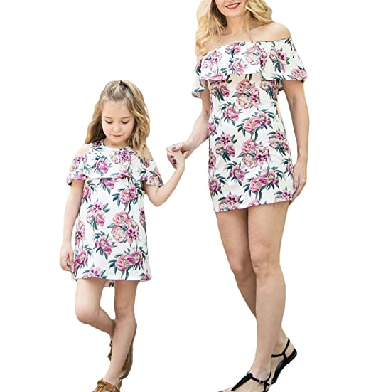 aee180a9a7e42 Mother Daughter Dresses Matching Set Plus Size Floral Off Shoulder ...