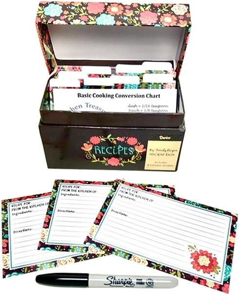 Ahlora - Caja de recetas con 91 piezas, juego de tarjetas: Amazon.es: Hogar