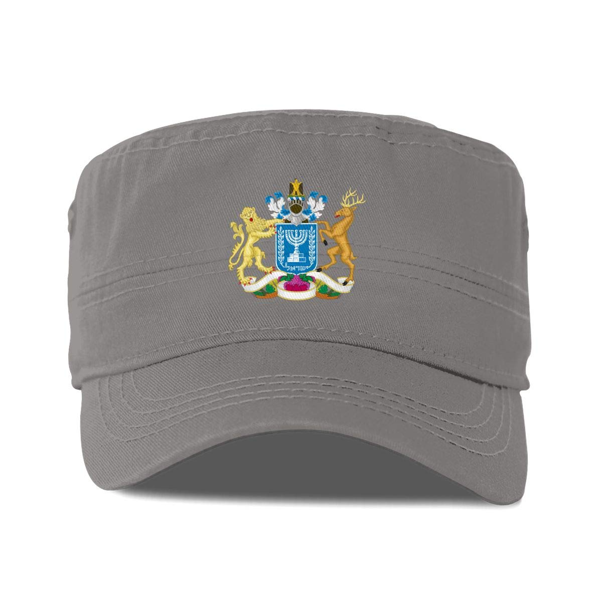 Classic Beret Cap X-JUSEN Mens Coat of Arms of Former Israel National Emblem Flat Cap Ivy Newsboy Collection Hat Driver Hat Gray