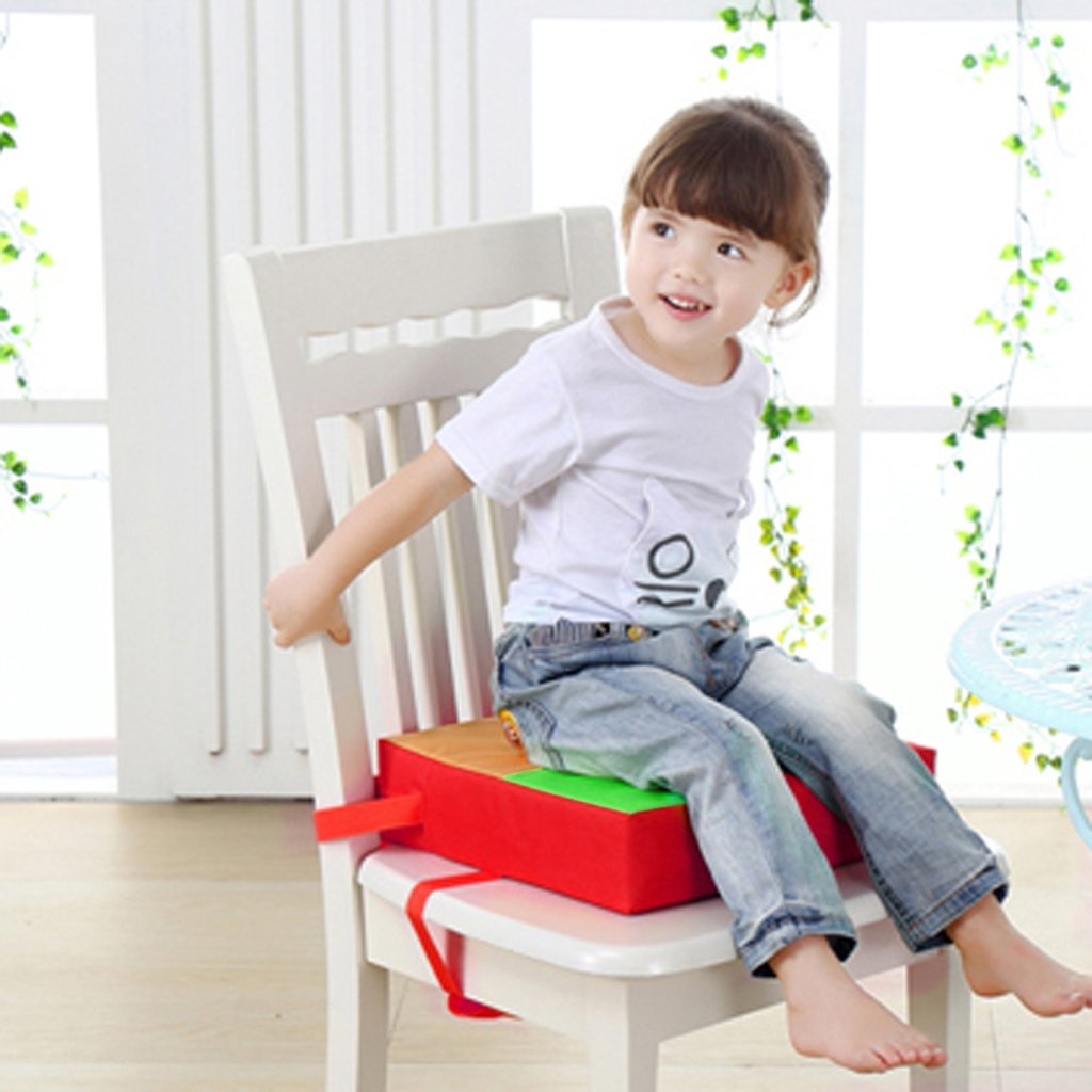 OEYFIEA Oxford Cloth Kids Dining Chair Booster Cushion Baby Children Seats Red