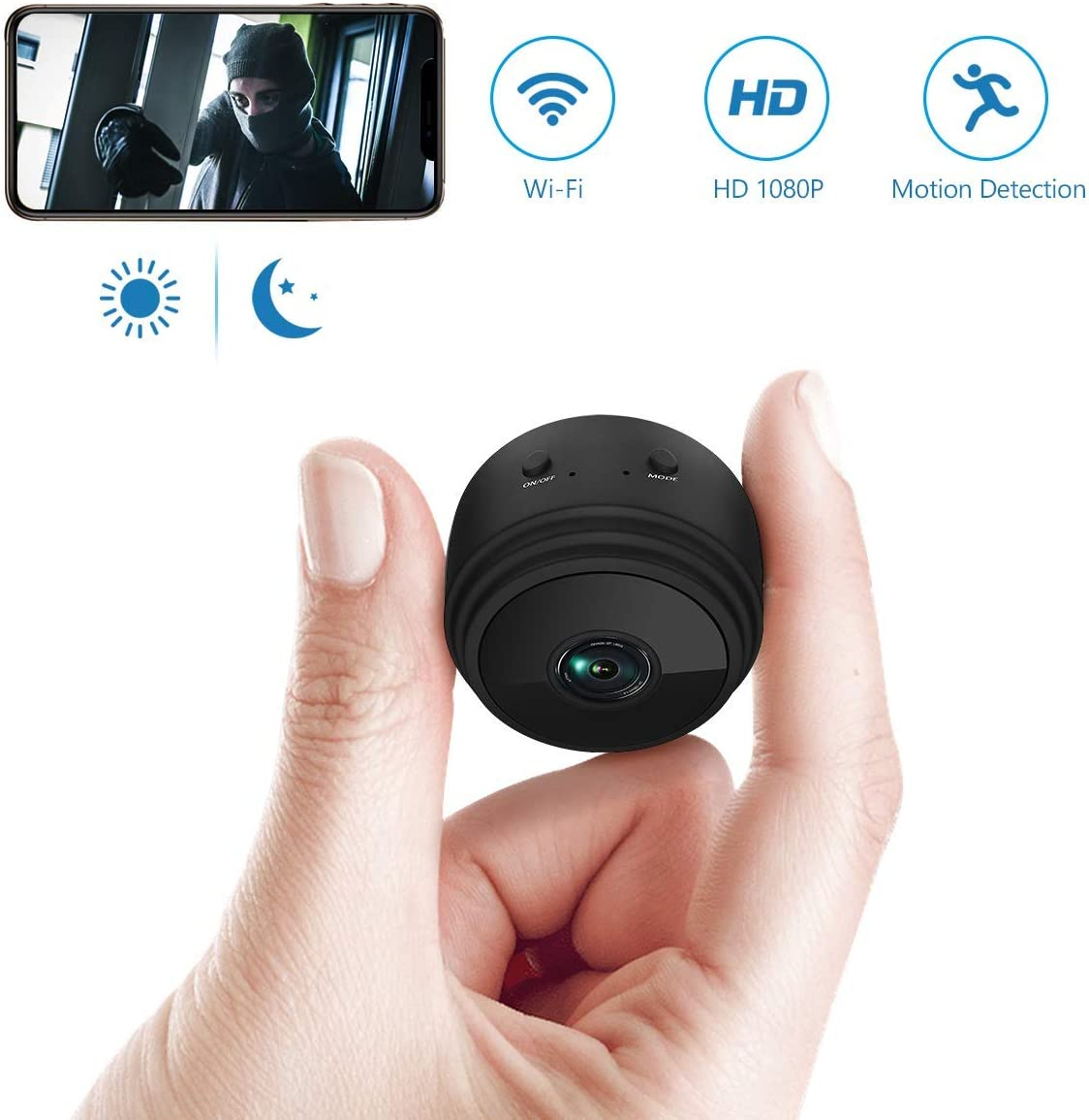 Spy Camera Wireless Hidden WiFi Camera,Mini Spy Camera HD 1080P Wireless Security Camera for Home Nanny Cam with Night Vision Motion Detection Built-in Magnetic Fit Indoor Outdoor Recording