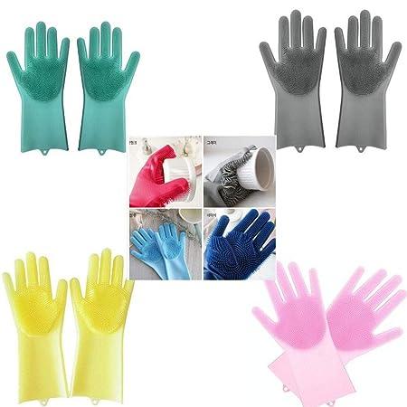 Leoie Anti-Slip Silicone Rubber Dish Washing Gloves Kitchen Cleaning Mittens for Kitchen