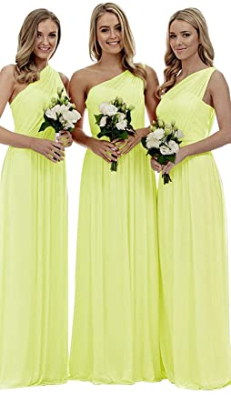 8bc87ab1421 Staypretty Bridesmaid Dresses for Women Long One Shoulder Asymmetric  Chiffon Prom Evening Gown Yellow 2
