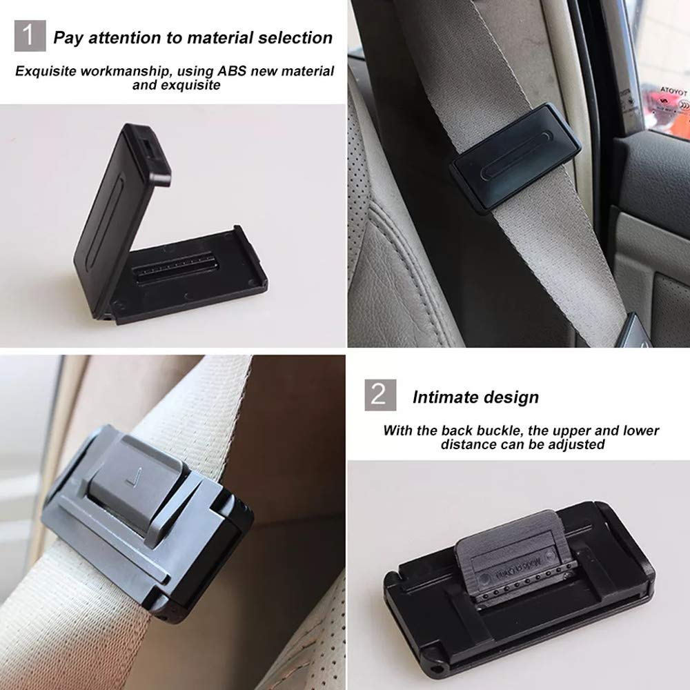 Aoderda 4 Pcs Portable Universal Car Safety Belt Clip Vehicle Adjustable Seat Belts Holder Stopper Buckle Safety Adjuster Clips
