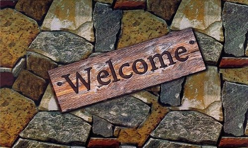 Ben&Jonah Park Avenue Collection Welcome Quarry Stones Outdoor Rubber Entrance Mat 18 in. x 30 in. ()