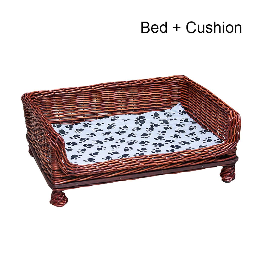C S C S HQSB Pet Bed Handmade Wicker Dog Bed Cat Bed Settee Basket with Cushion (color   C, Size   S)