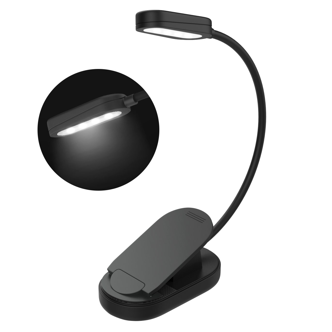 Rechargeable Book Light, MoKo LED Reading Light Flexible Easy Clip On Bed Lamp 2 Levels Brightness with Good Eye Protection for Night Reading, Bookworms, Readers, Kids - Black DS114