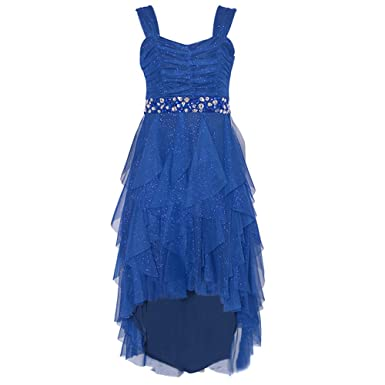 9b5db5c637c Tween Diva Big Girls Royal Blue Bejeweled Cascade Hi-Lo Christmas Dress 16  Tween  Diva  Amazon.co.uk  Clothing