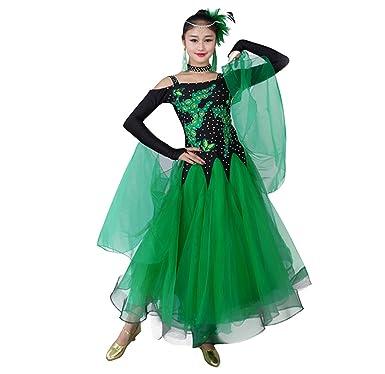 76826ba266647 YC WELL Women Modern Waltz Tango Smooth Ballroom Dance Dress Standard Ballroom  Dress(Green,