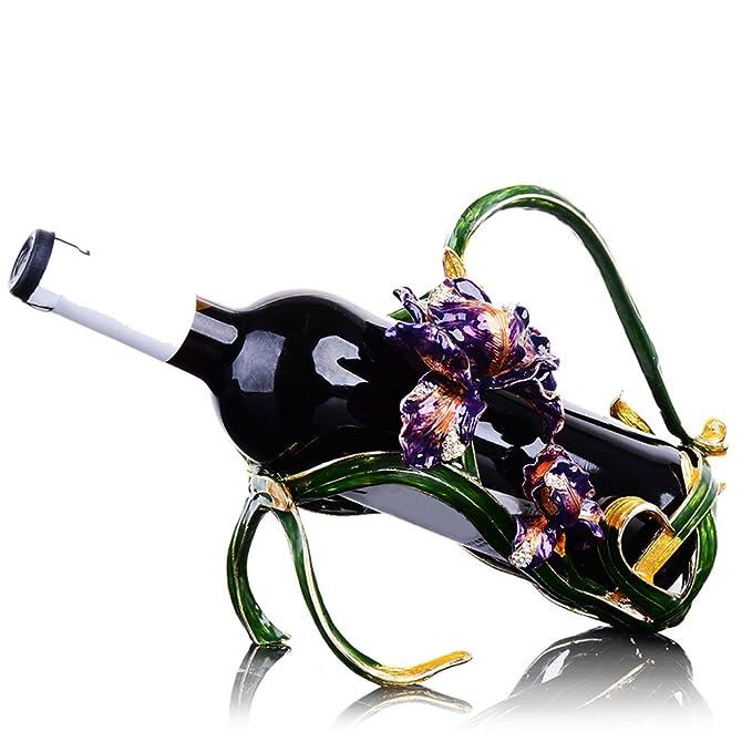 HJYJA Estante para Vinos, Sala De Estar Creativa Europea Estante para Vinos Decoración De Arte De La Aleación De La Vendimia Estante Simple De Botellas De ...