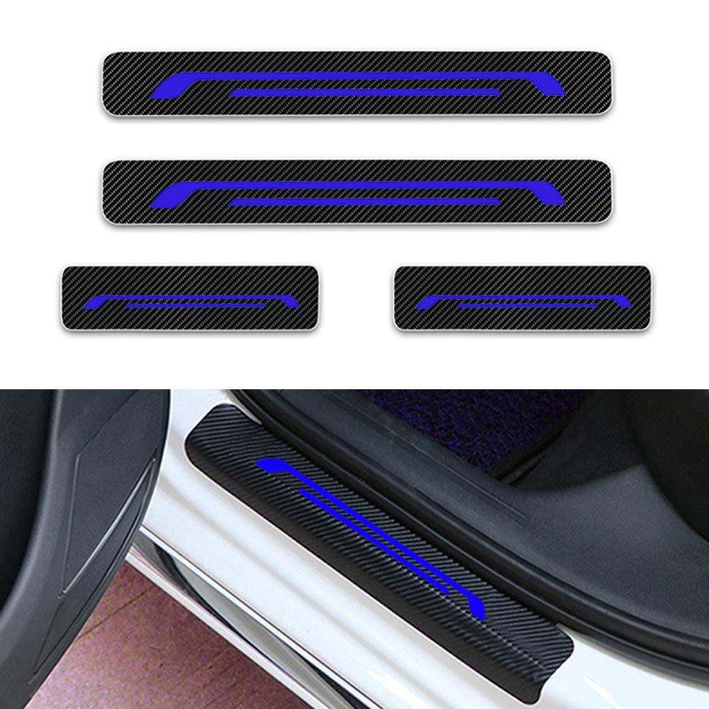 Per Celerio Alto Jimny S-Cross Swift SX4 Vitara Battitacco Soglia Porta Auto,Carbon Fiber Sticker adesivi Styling,Esterno Batticalcagno Prevenire lusura Previene graffi 4Pezzi Bianco