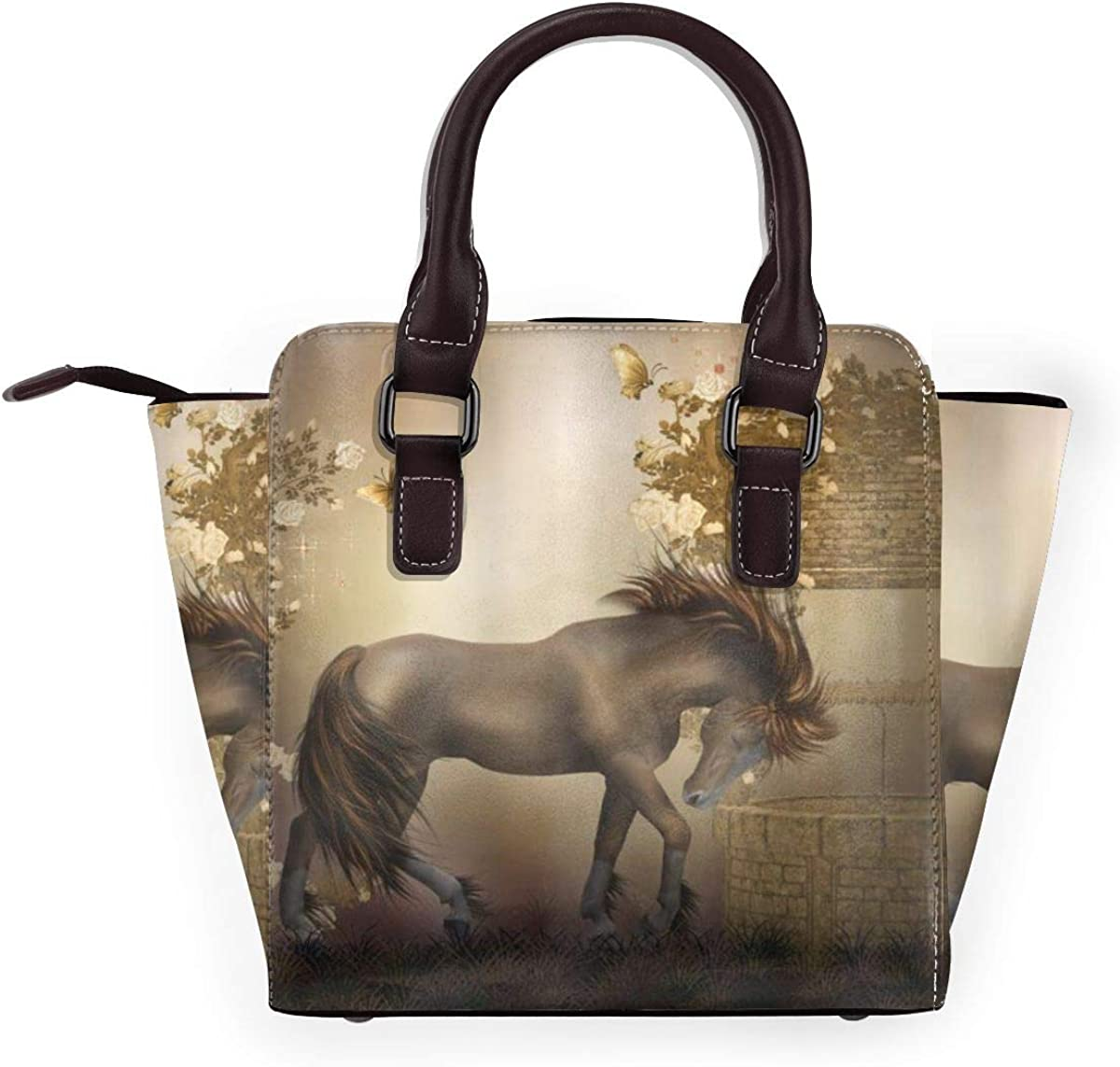 BROWCIN Mystic House Horse In Roses Garden Butterflies Fantasy Moonlight Romantic Artistic Illustration Détachable La mode Tendance Madame Sac à main Sac à bandoulière 1