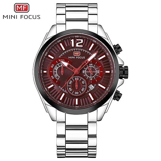SJXIN Reloj Elegante Mini Focus/Reloj para Hombre con Reloj de Cuarzo Luminoso de Calendario Puntero Reloj de Pulsera de Acero con Tres Agujas pequeño ...