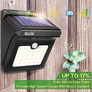 BAXIA TECHNOLOGY Solar Lights Outdoor,Wireless 28 LED Solar Motion Sensor Lights,Waterproof Security Lights for Outdoor Wall,Back Yard,Fence,Garage,Garden,Driveway(400LM,4 Packs)