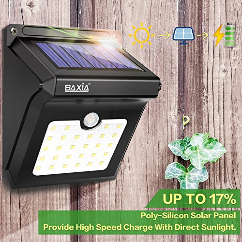 BAXIA Technology LED Solar Lights Outdoor, 400 Lumens Wireless Waterproof Motion Sensor Security Lights for Front Door,Outside Wall,Back Yard,Garage,Garden,Fence,Driveway [Upgraded 28LED 2 Packs] by BAXIA TECHNOLOGY (Image #1)