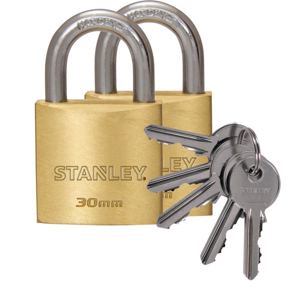 Stanley Lucchetto Arco Standard in Acciaio Cementato, Corpo in Ottone Massiccio 70 mm, 3 Chiavi, S742-034 81106 371 401