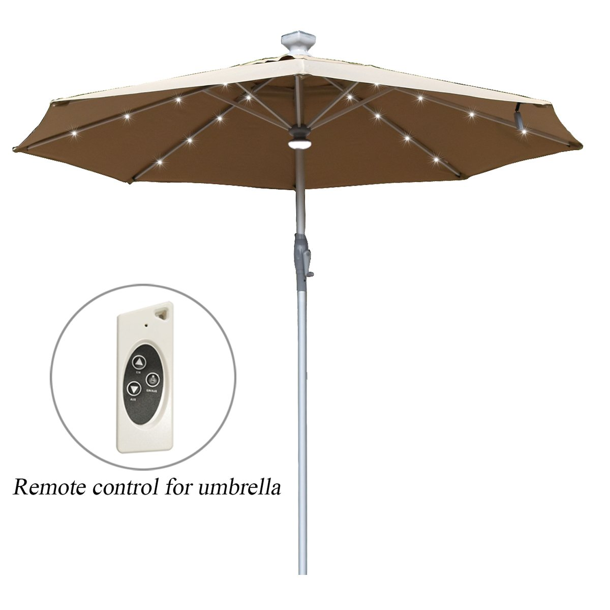 Mefo garden Electric Automatic Patio Umbrella Outdoor Umbrella with Crank Handle LED Lights 250gsm 9.8Ft Aluminum, Tan