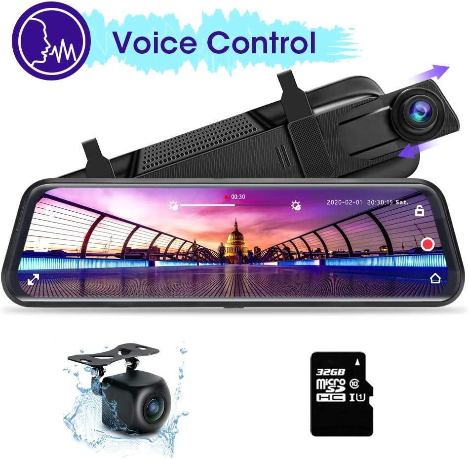 Voice Control Mirror Dash Cam for Cars, Rear View Mirror Camera 10'' Car Backup Camera Dual Dash Cam Front and Rear Camera W 32GB TF Card Full Touch Screen Night Vision