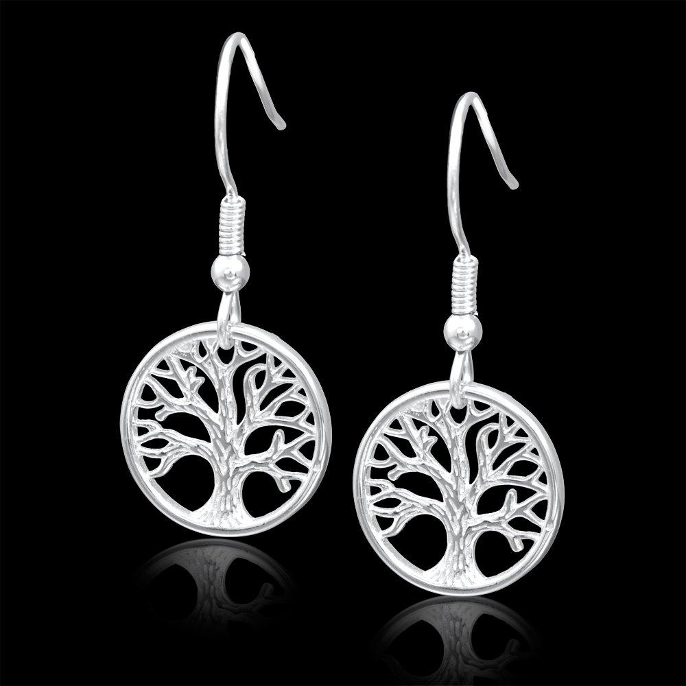 1ca089866818 ANDANTE 925 plata mujer pendientes pendientes - Diseño vida algodón - Árbol  de la Vida - Tree of Life - 14 x 26 mm  Amazon.es  Joyería
