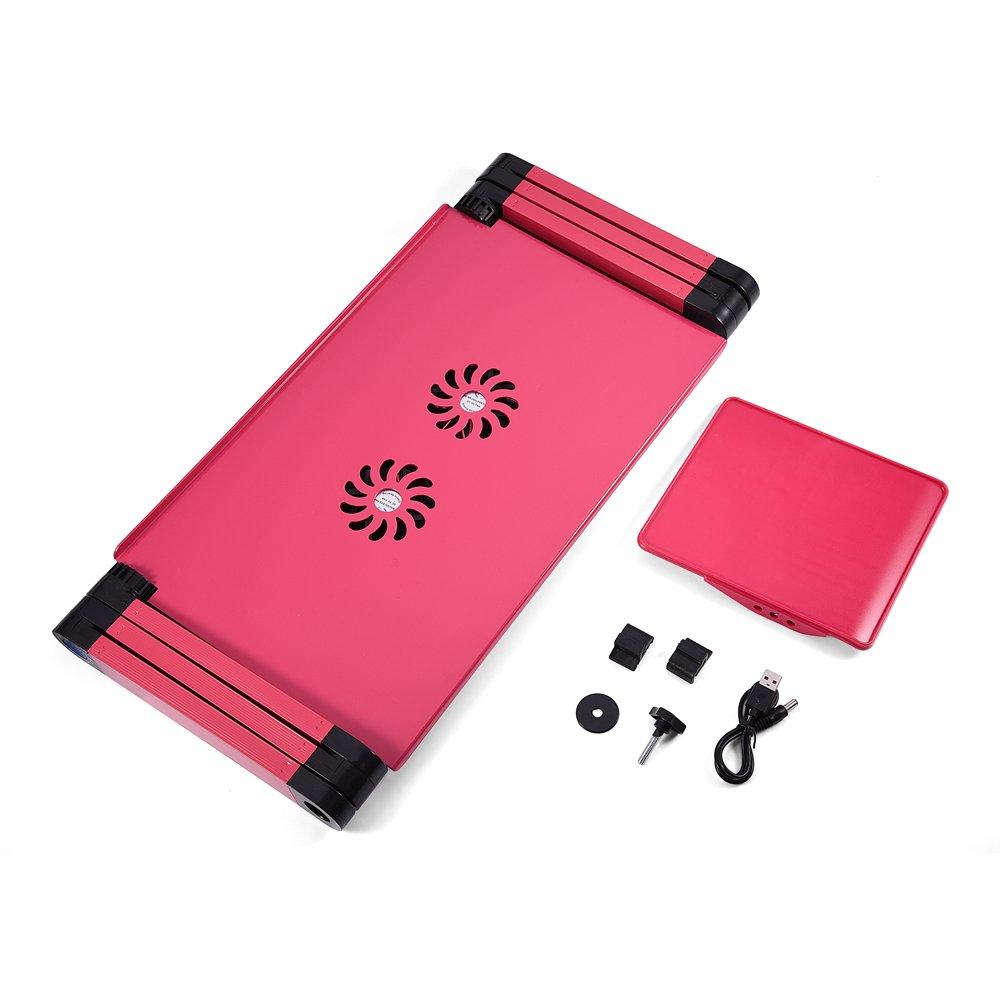 Dual L/üfter, Rosenrot 360/º Verstellbarer Laptop-Schreibtisch Faltbares Bettsofa Notebooktisch mit L/üfterloch und Mausbrett GOTOTOP Laptoptisch