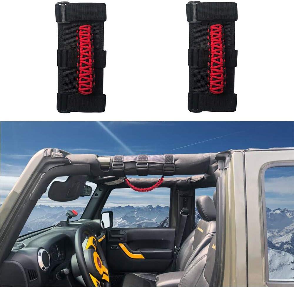 Roll Bar Grab Handles,Strong Durable Grab Grip Handle for Jeep Wrangler YJ CJ TJ JK JKU JL JLU Sahara Rubicon Unlimited 2 PCS
