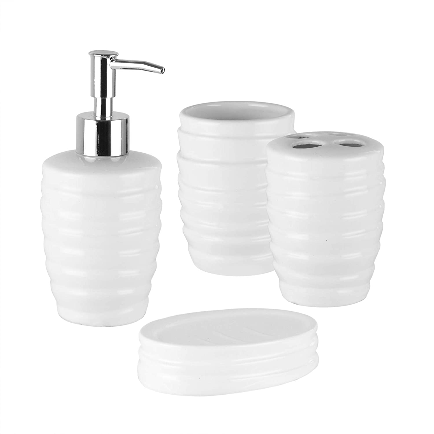 American Atelier Bath 4 Piece Bathroom Accessory Set, with Soap Dish and Dispenser, Toothbrush Holder, and Tumbler White The Jay Companies 1184527