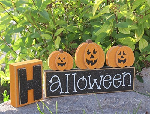 HALLOWEEN BLOCKS for home, desk, shelf, mantle, holiday, october, jackolantern, pumpkin, decor]()