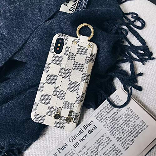 Boozuk iPhone XR Case with Holder, Luxury Monogram PU Leather & TPU 2 in 1 Classic Style Shockproof Handheld Case for Apple iPhone XR 6.1