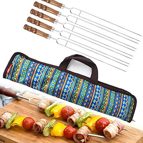 Ezyoutdoor Pack of 5 Pieces U-Shaped Stainless Steel Barbecue Needles Wood Handle Barbecue Accessories Camping Cooking Tools with Carry Bag