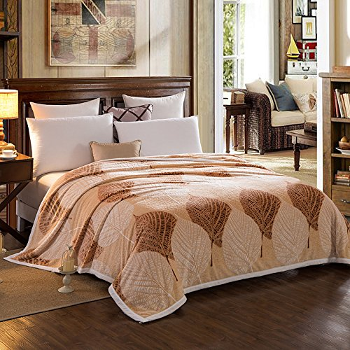 Znzbzt A carved blanket thick 3D Cut flower coral fleece blankets single double leisure and autumn and winter plus velvet bedspreads,180cmx200cm, leaf dance (brown) by Znzbzt