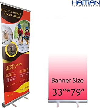 """Aluminum 33/""""x79/"""" Retractable Roll Up Banner Stand Pop Up Trade Show Display"""
