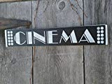 Cinema Sign black with white letter Shabby Painted Wood Sign Movie Room Home Theatre Sign