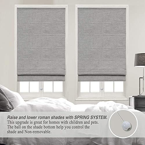 Cordless Roman Shades Window Blinds, Grey Premium Blackout Roman Window Shades, Custom Washable Fabric Roman Shades for Windows, Doors, French Doors, Kitchen Windows 1 Piece