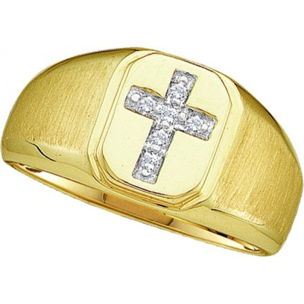 Silvernshine Jewels Diamond Accents 14K Yellow Gold Fn .925 Sterling Cross Wedding Band Men's Ring