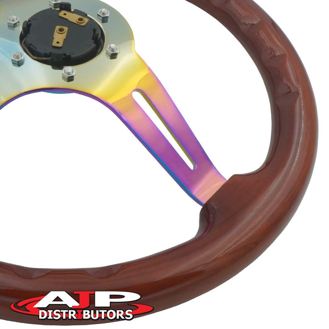 Black AJP Distributor Universal 345mm 6 Bolt Hole Deep Dish Streak Style Neo Chrome Center Wood Grain Trim Handle Steering Wheel Blank Horn Button JDM Euro VIP Racing Track Drift Drag