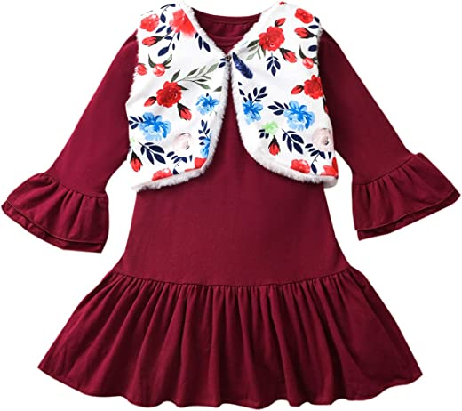 Aalizzwell Toddler Baby Little Girls Maroon Ruffle Cuff Hem Dress Faux Fur Vest Outfits 2Pcs
